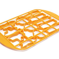 Mrs. Fields Halloween Cookie Cutter Grid with Pumpkin, Coffin, and Ghost Pattern