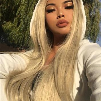 Popular Golden Blonde Straight Long Synthetic Lace Front Wig