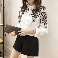 2019 Spring White Casual Blouse Women Blusas Office Button Collar Neck Long Sleeve Top Shirt Plus Size Floral Embroidery vadim*