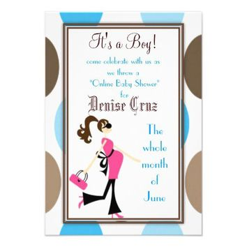 Brown & Blue Polka Dots Baby Shower Invitations