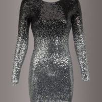 Black and Silver Ombre Longsleeve Sequin Dress