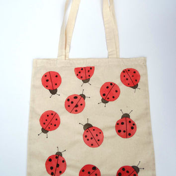 Hand painted Tote Bag red Colored Ladybird Ladybug Hand drawn Cotton Canvas Shopping Bag -Large Size