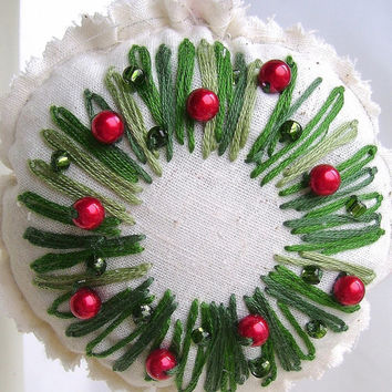 Embroidered Christmas wreath ornament, Tree decoration, Shades of green, Bright red beads, Decoration on both sides