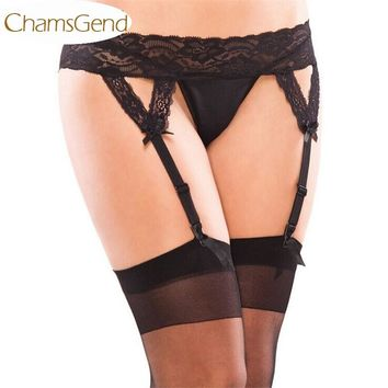 Chamsgend Newly Women Sexy Lace Suspender Garter Belt Matching G-String Thong Hold With Stocking July8