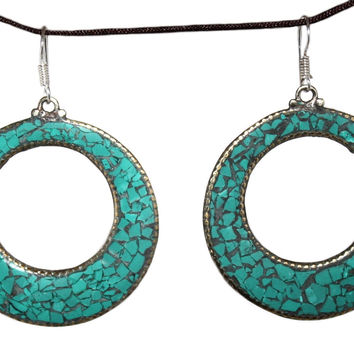 round turquoise Earring