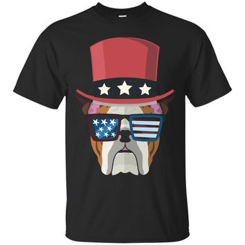 Bulldog with hat and sunglass Us Flag Funny 4th of July Tee