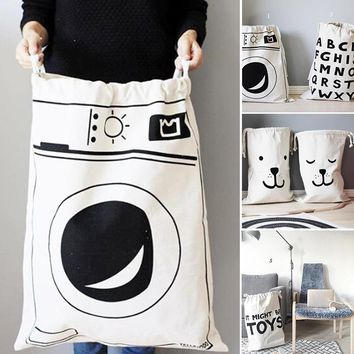 Washing Machine design Canvas Laundry basket Dirty cloth pocket Baby Kids child Room Drawstring Storage Bag Organizer V0