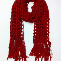 Maroon Oversized Grid Scarf