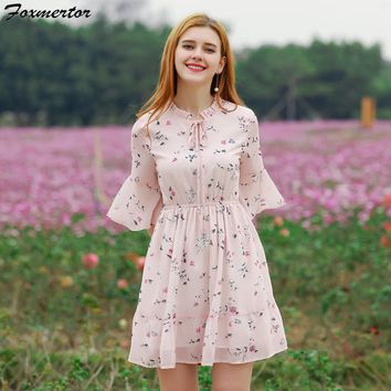Foxmertor Summer Dress Women Printed Chiffon Dresses New Sweet Ruffles Floral A-line Dress  Short Sleeve Casual Beach Vestidos