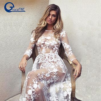 Summer White lace long dress Bohemian Low Back Backless Open Back Dress sheath Dresses Female vestidos Honeymoon trip clothes
