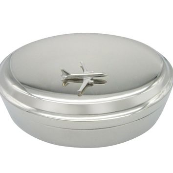 Smooth Commercial Jet Plane Pendant Oval Trinket Jewelry Box