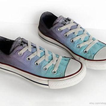 ICIKGQ8 ombr dip dye converse turquoise topaz purple grey low tops tie dye sneakers upc