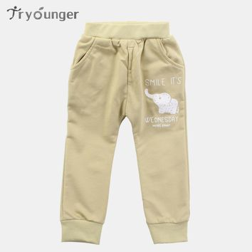 Tryounger Children Pants Cartoon Elephant newborn Baby Boy Pants Baby Girl Pants Baby Clothing 0-2 year Baby Pants