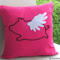 When Pig Flys In Summer. Flying Pig Fuchsia Pillow Cover. Yarn Hand Embroidery. Children Room Decor
