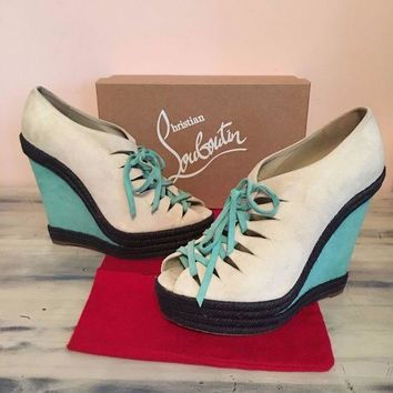 DCCKIN9 Christian Louboutin Multi Colorblock Suede Lace Up Peep Toe Espadrille Heels 41