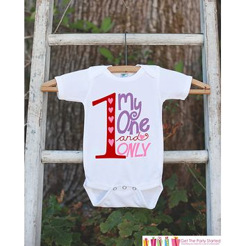 Girls Valentines Day Clothing - One and Only Valentine Outfit - Novelty Baby Girl Valentine Onepiece - Girl Valentines Outfit - Pink Hearts