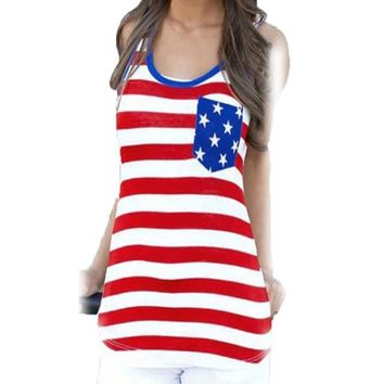 Top Femme T-shirt US Flag Pocket T Shirt Women Tops Tees Sleeveless Tee Shirt Summer Casual Womens Clothing Camisetas Mujer