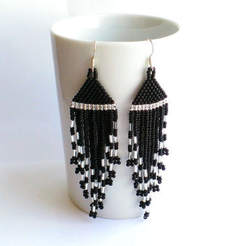 Long Seed Bead Dangle Black And Silver Earrings With Fringe-Beaded Long Earrings-Beadwoven Dangle Earrings-Anniversary Birthday Gift For Her