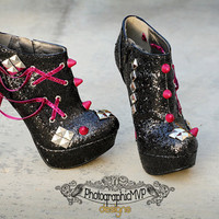 Custom Spike Heels - Black and Pink or Fuchsia Glitter Platform Booties w/ Spikes, Studs, Ribbon, Grommets, Rock Style, Lady Gaga, 80s Retro