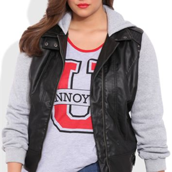Plus Size Faux Leather Moto Jacket with Fleece Sleeves and Hood