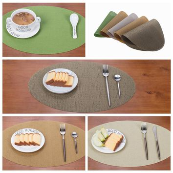 4pcs/lot PVC Minimalist Table Mat Oval Placemats Waterproof Tablecloth Coaster Pad Heat Insulation Dinner Table Pad 45x30cm