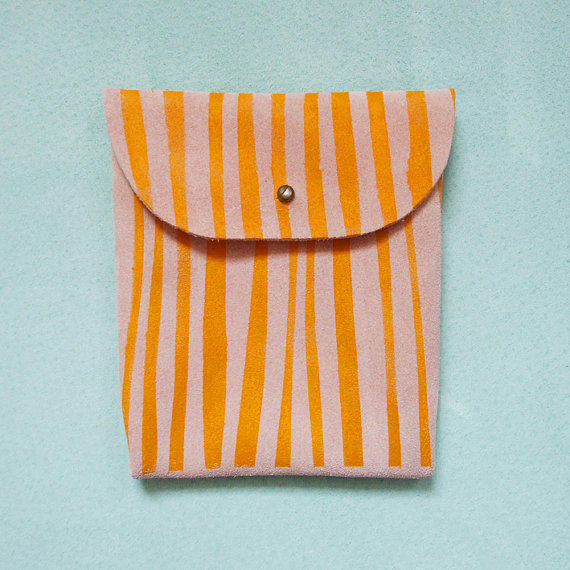 SUEDE POUCH // pink suede with orange yellow stripe print
