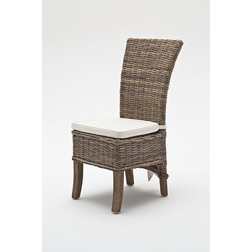Wickerworks Salsa Dining Chair with cushion (set of 2) Natural Grey