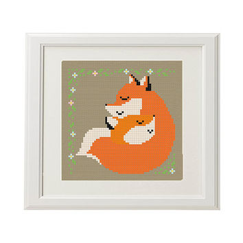 Fox Cross Stitch Pattern love baby cross stitch nursery Funny cross stitch pattern Needlepoint crossstitch animal instant download PDF