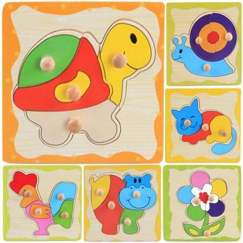 ICIK272 Jigsaw Puzzle Toy Kids Learning Wooden Animal Cartoon Educational Toys Games Many Styles Colorful Baby Children's Day Gift