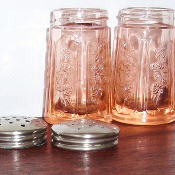 1930's DEPRESSION FEDERAL SHARON Pink Rose Glow Cabbage Rose Glass Crystal Salt Pepper Shakers with Metal Tops Lids Excellent Condition