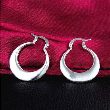 Women Fashion Jewelry 925 Sterling Silver Crescent Moon Small Thin Hoop Earring