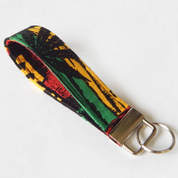 Rasta Key Fob / Pot Leaf Keychain / Pot Leaves / Key Lanyard / ID Badge Holder / Red Yellow and Green / Key Lanyard / Back to School