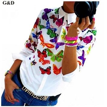 White Blouse Shirt Elegant Floral/Butterfly Print Blouse Women New Spring Autumn European Long Sleeve Blouses Female Tops