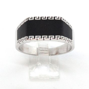 (2-5273-h9-2) Sterling Silver Men's Greek Design Black Accent Ring.