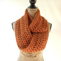 Erin Burnt Pumpkin Orange Infinity Crochet Scarf Cowl Loop Circle Accessory