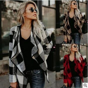 ONETOW Women Casual plaid lapels woolen jacket coat