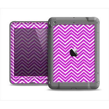 The Hot Pink Thin Sharp Chevron Apple iPad Mini LifeProof Nuud Case Skin Set