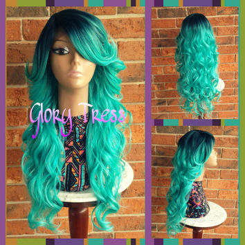 ON SALE // Long & Curly Lace Front Wig, Ombre Green Wig, Dark Rooted Bombshell Wig //EMERALD(Free Shipping
