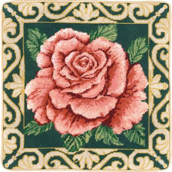 """Traditional Rose Needlepoint Kit 14""""X14"""" Stitched In Floss"""