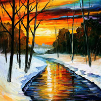 "Winter - PALETTE KNIFE2 Oil Painting On Canvas By Leonid Afremov - Size 30"" x 30"" from afremov art"