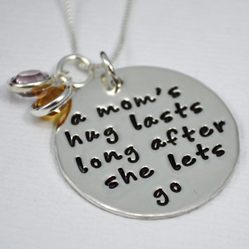 Mommy Necklace with Birthstones   Mom's Hug Lasts Long After She Lets Go