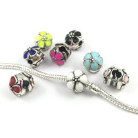 8 Colors Ename flower Safety Clips Locks Beads Stopper Bead Charms European Beads Fit Pandora Bracelets & Bangles B00069
