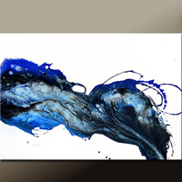 Abstract Canvas Art Painting 36x24 Original Blue Modern Contemporary Paintings by Destiny Womack - dWo - Beyond the Stars