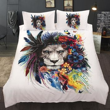 Wongs bedding lion feather duvet cover 3D Printing colorful Bedding Set single twin full queen king size bedlinen