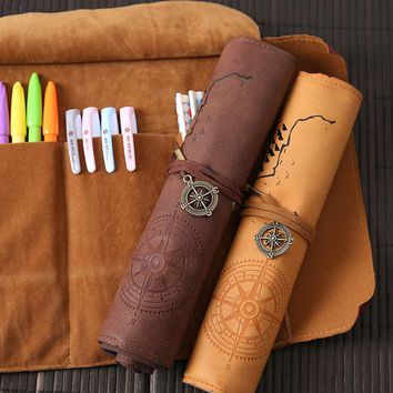Stationery box Korean simple school students large capacity pencase vintage treasure map faux leather cylinder pencil case roll