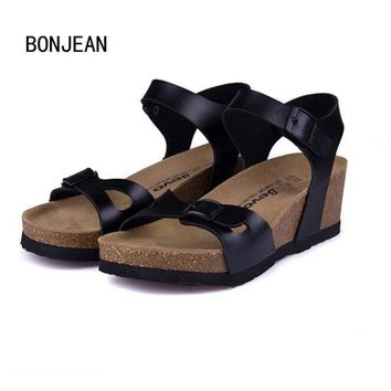 New Fashion Women Sandals Cork Shoes Beach Shoes Gladiator Wedges Summer High Heels Za
