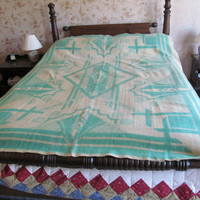 50s Teal Wool Blanket Full Size 100% Wool Blanket Antique Textiles Double Bed Wool Blanket Rustic Cabin Decor Vintage Wool Blankets
