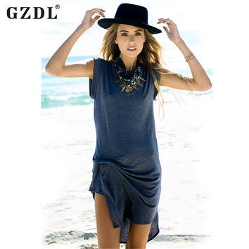 GZDL Fashion Women Dresses Plus Size Sleeveless Casual Asymmetrical Hem Boho Summer Beach Wear Dress Sundress Vestidos CL2465