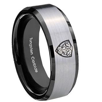 10mm Zelda Hylian Shield Beveled Brushed Silver Black Tungsten Men's Band Ring