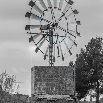 fine art photography print,black and white photography,winter landscape,nature photography,windmill,wall art,decor home